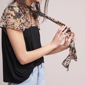 Anthropologie SZ L Black & floral sheer top